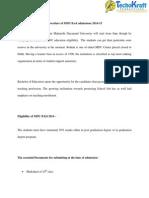 Procedure of MDU B.ed Admissions 2014-15