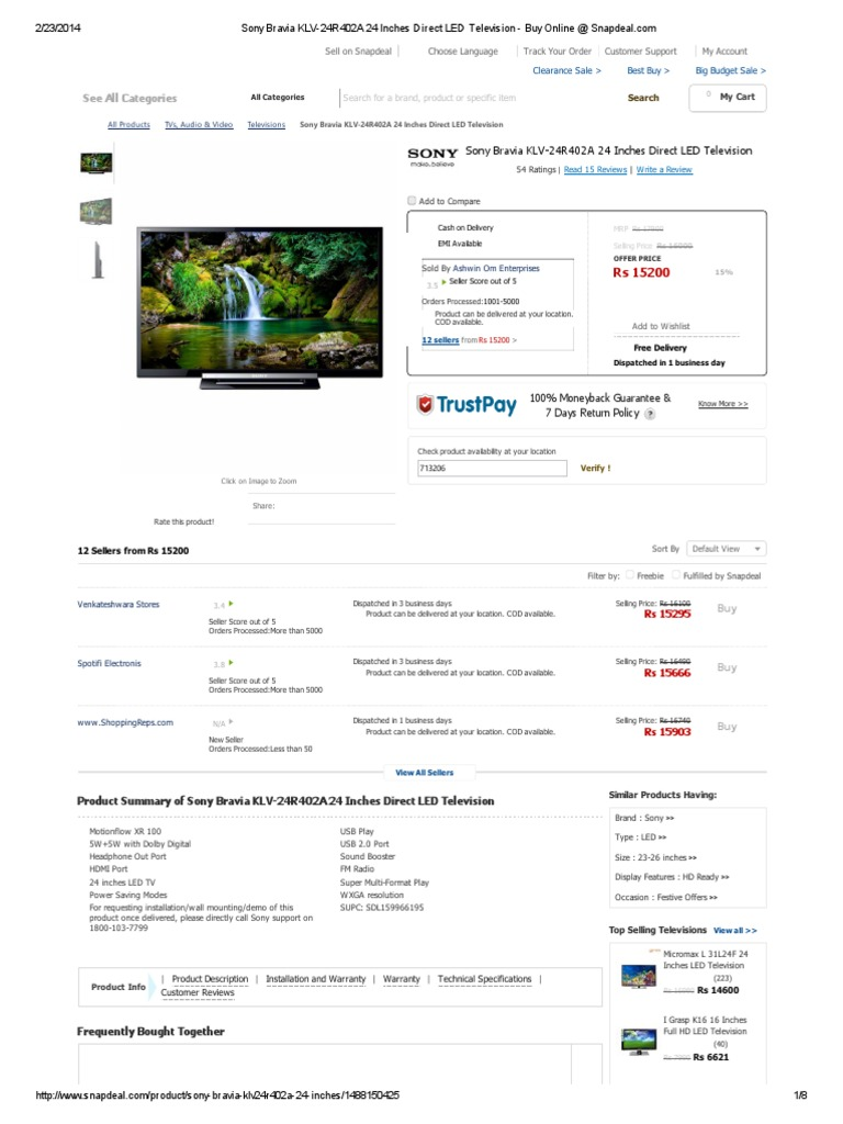 Sony Bravia KLV-24R402A 24 Inches Direct LED Television