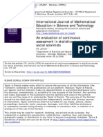 An Evaluation of Continuous Assessment in Statistics