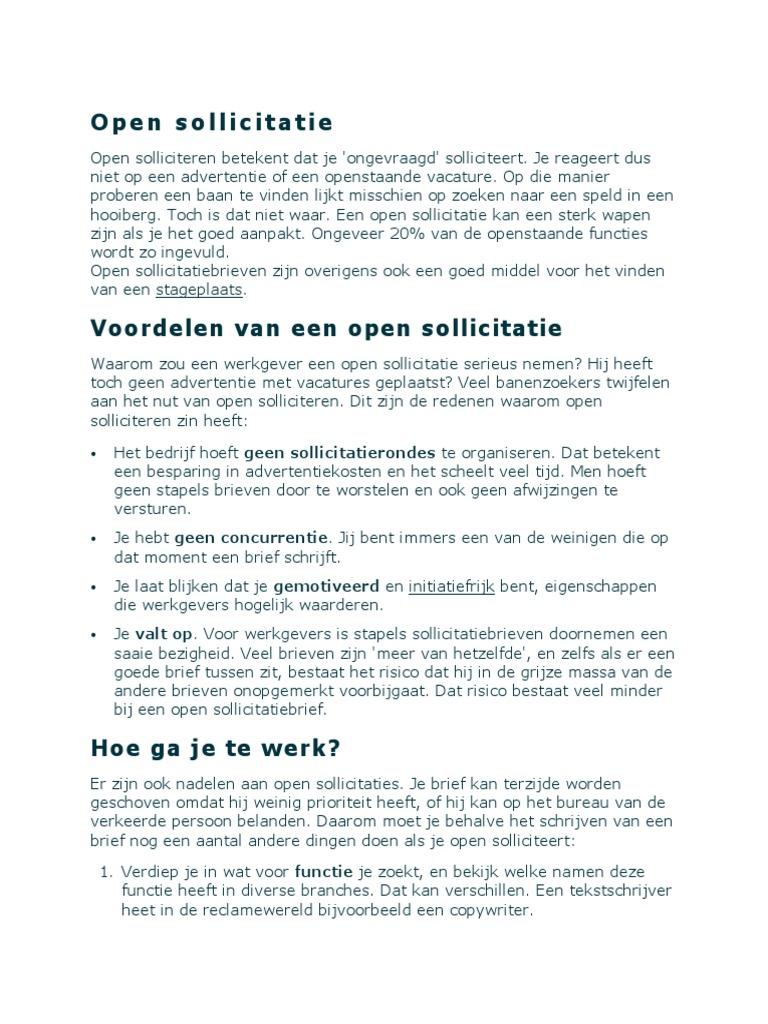 een open sollicitatie doen Open Sollicitatie