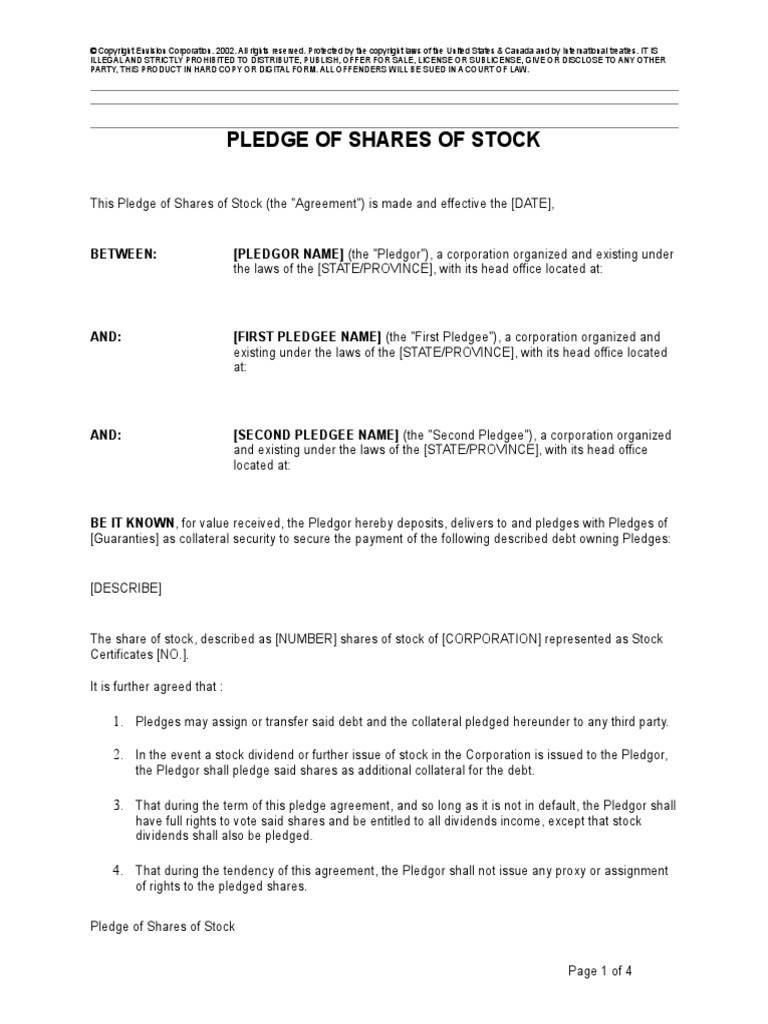 Pledge Of Shares Of Stock Foreclosure Private Law