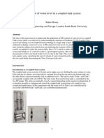 PID control of water level in a coupled tank system
