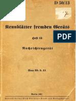 """""""D50/13"""" Kennblätter fremden Geräts. Heft 13"""