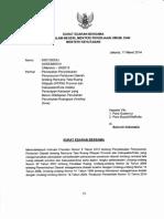 Surat Edaran Bersama  Menteri Dalam Negeri, Menteri Pekerjaan Umum, dan Menteri Kehutanan Nomor 650/1393/SJ; 02/SE/M/2014; 2/Menhut -Vlll2013 tentang Percepatan Penyelesaian Penyusunan Peraturan Daerah tentang Rencana Tata Ruang Wilayah (RTRW) Provinsi dan Kabupaten/Kota melalui Penerapan Kawasan yang Belum Ditetapkan Perubahan Peruntukan Ruangnya (Holding Zone)