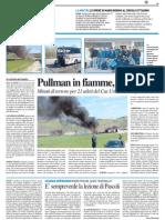 Pullman in fiamme, tutti salvi - Il Resto del Carlino del 3 aprile 2014