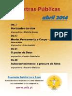 Palestras públicas abril 2014