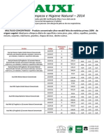 Tabela de produtos Auxi - Biowash