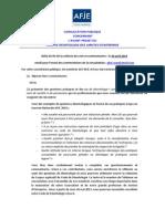 Code de Deontologie AFJE Avant Projet - Consultation Publique Afje Avril 2014