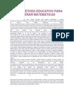 NUEVO MÉTODO EDUCATIVO PARA ENSEÑAR MATEMÁTICAS