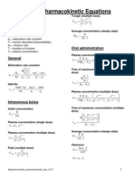 Pharmacokinetic Equations