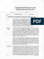 Mass Fusion Center 2008 Guidelines for Investigations Involving 1st Amend Activity