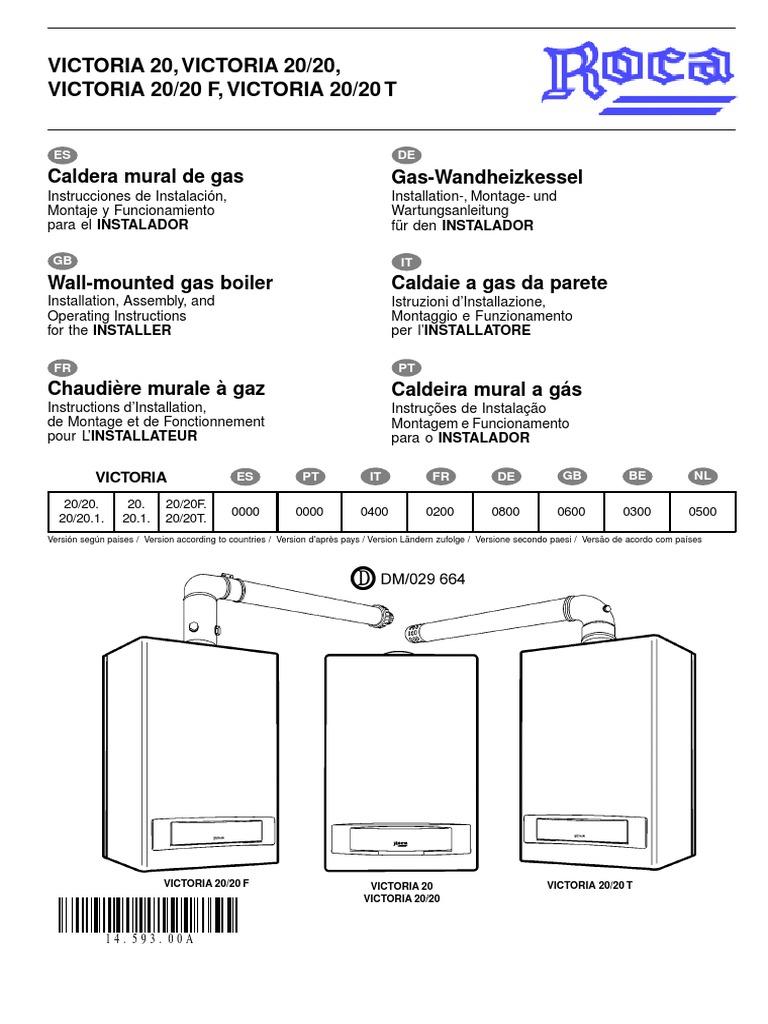 manual caldera roca victoria 20 20f instalador