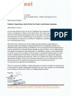 Letter to NIC for a data portal for public contributed datasets