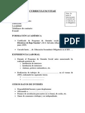 Curriculum Vitae Modelo Modificacion De Comportamiento Cognicion