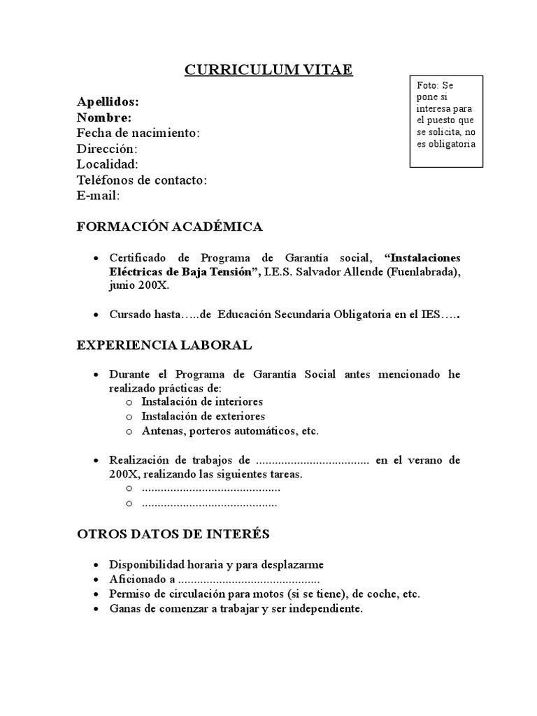 Atractivo Curriculum Vitae De Ejemplos Sencillos Patrón - Colección ...