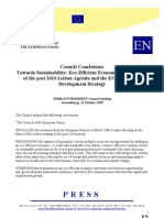 Council Conclusions Towards Sustainability. Eco-Efficient Economy in the Context of the Post 2010 Lisbon Agenda and the EU Sustainable Development Strategy