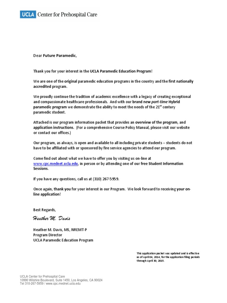 Ucla Application Information Packet As Of April 04 2014 Student
