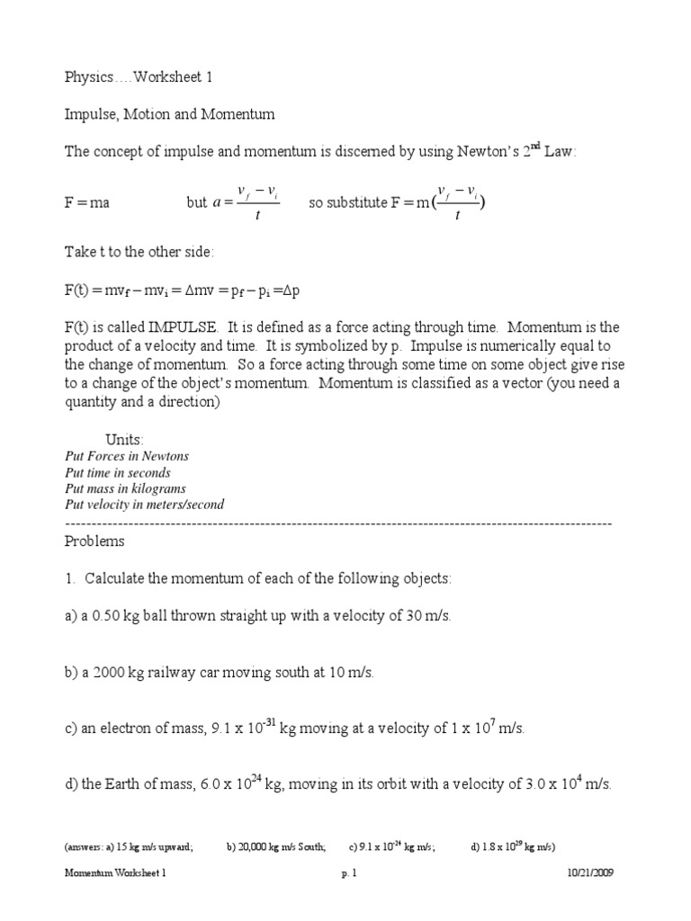 Momentum Worksheet Packet Collision – F Ma Worksheet