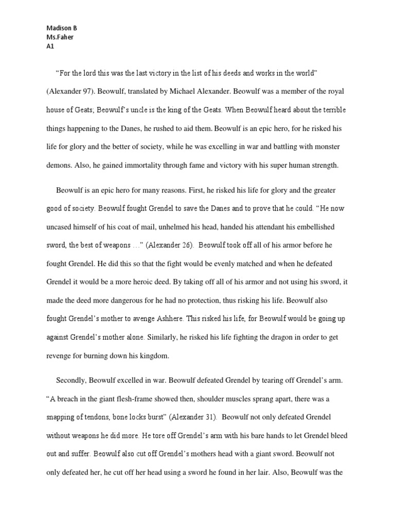 Beowulf essay characteristics of archetypal epic hero answers
