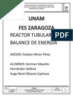 Reactor Tubular Con Balance de Energia