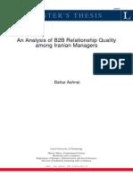 Analysis of B2B Relationship Quality Among Iranian Managers