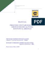 Manual Precios Unitario Para Edificio en Altura en Punta Arenas
