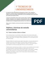 Habitos y Tecnicas de Estudios Universitarios