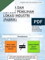 Analisa dan Metode Pemilihan Lokasi Industri (Pabrik)