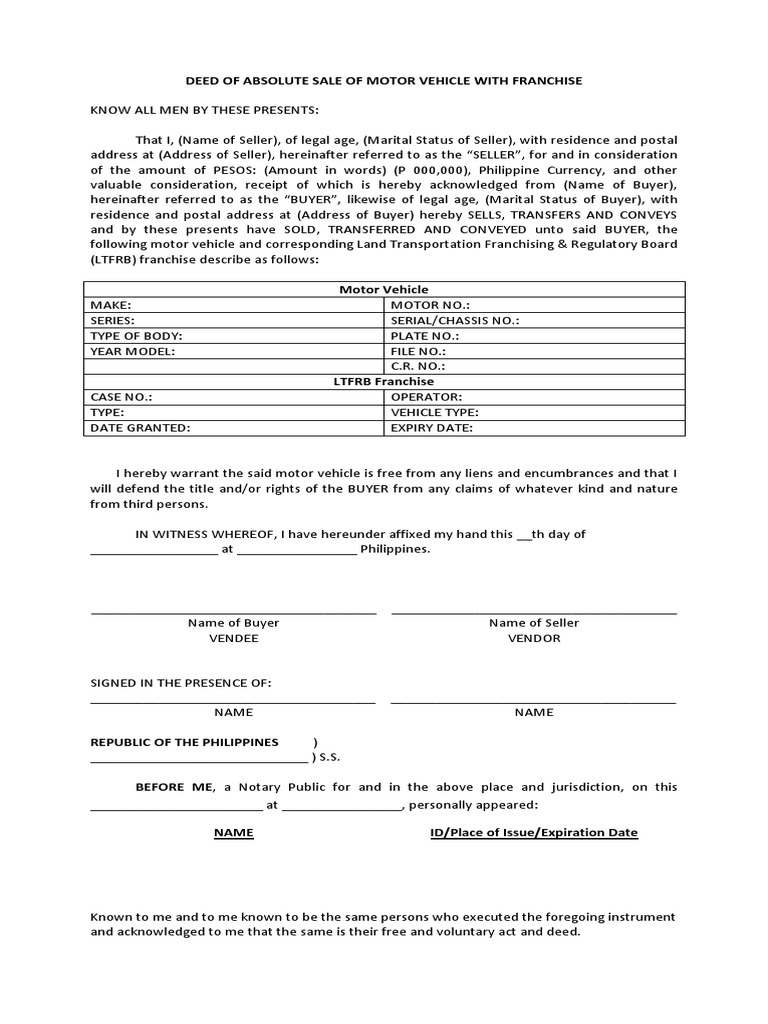 Deed of absolute sale of motor vehicle for Motor vehicle for sale
