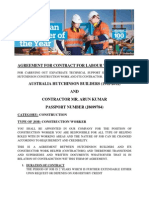 Agreement for Contract for Labour Workers