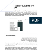 Structure of Business Plans Executive Summary
