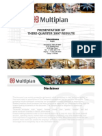 Multiplan Earning Release 3T07 20071113 Eng
