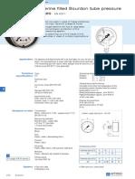 s272 Glycerine Filled Bourdon Tube Pressure Gauges