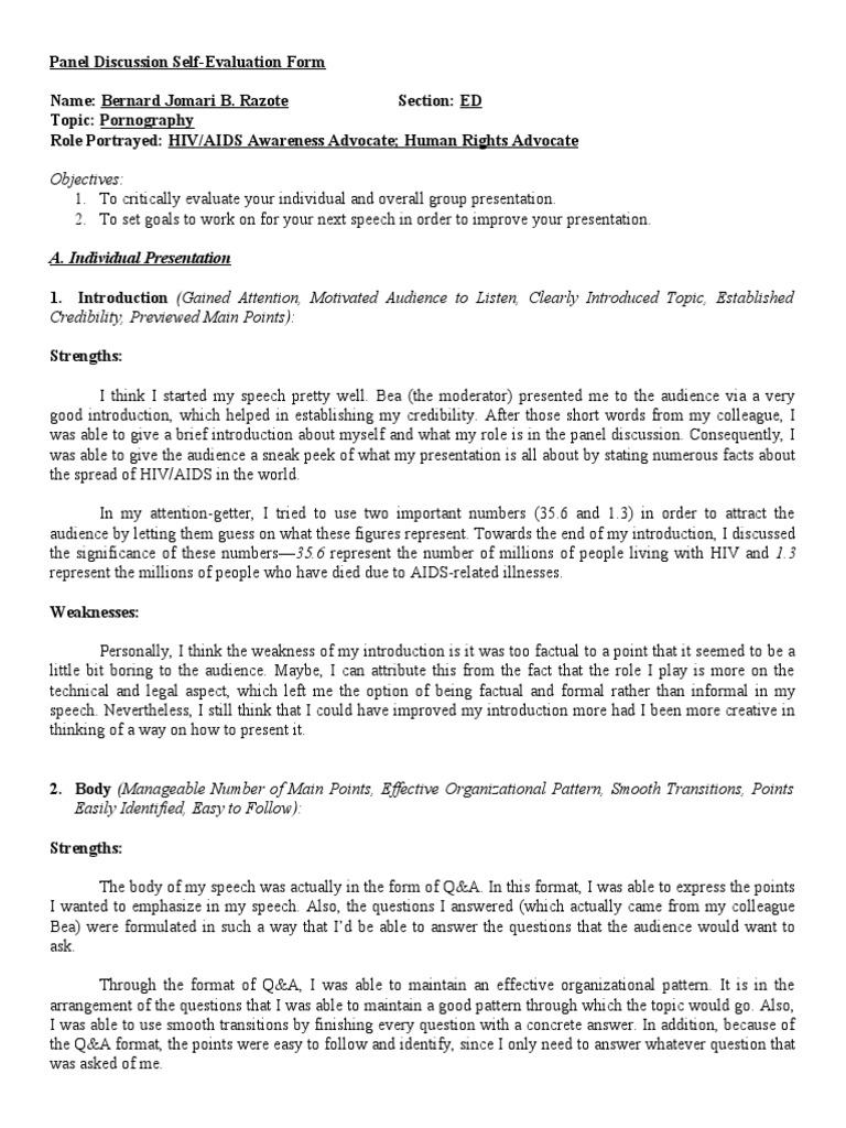 Panel Discussion Self Evaluation Form Semiotics – Group Self Evaluation Form