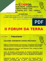 Slides apresentados por Galdino Machado (Chemigal Ltda.) no II Fórum da Terra