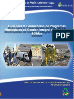 Guía para la Formulación de Programas Municipales de Gestión Integral de Residuos Sólidos