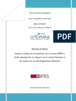 Analyse Critique de La Transition Vers Norme IFRS 9
