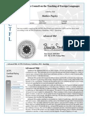 actfl opi certificate | Conversation | Linguistics