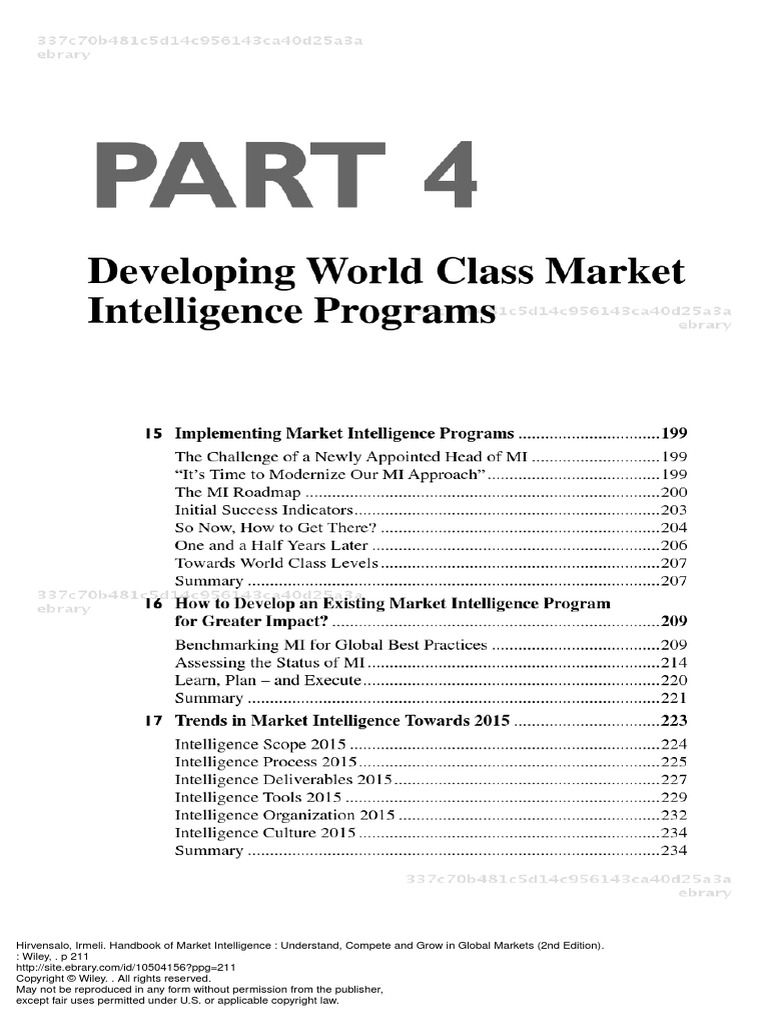 154661334 Handbook of Market Intelligence Understand Compete and Grow in Global  Markets 2nd Edition Part 4 Developing World Class Market Intelligence ...