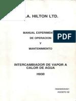 Manual de Operacion y Mantenimiento Intercambiador de Vapor a Calor de Agua H930