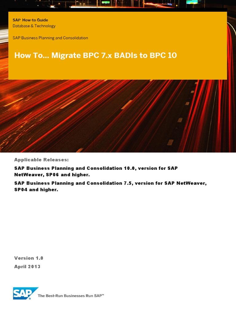 BPC10 BADIs | Application Programming Interface | Ibm System I