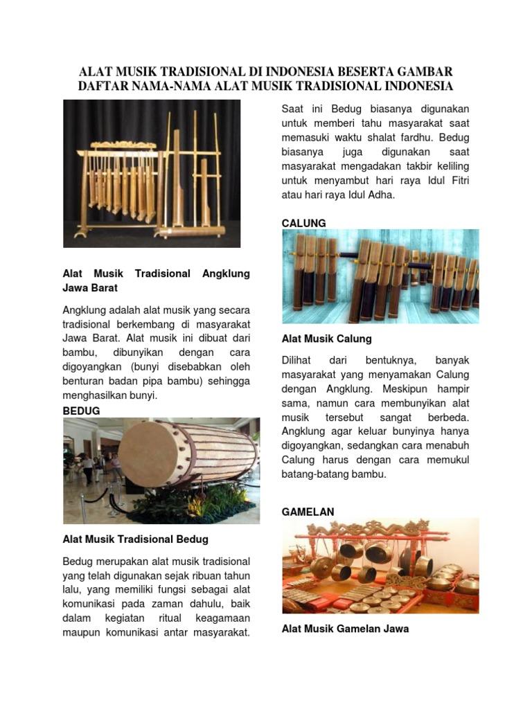 Alat Musik Tradisional Di Indonesia Beserta Gambar