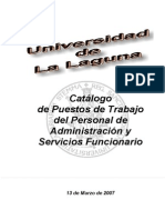 Catalogo Puestos PAS Funcionario ULL