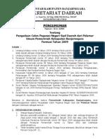 Pengumuman Penerimaan CPNS Kabupaten Banjarnegara Tahun 2009