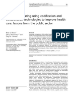 Knowledge Sharing Using Codification and Collaboration Technologies to Improve Health Care