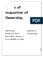 Modes of Acquisition of Ownership