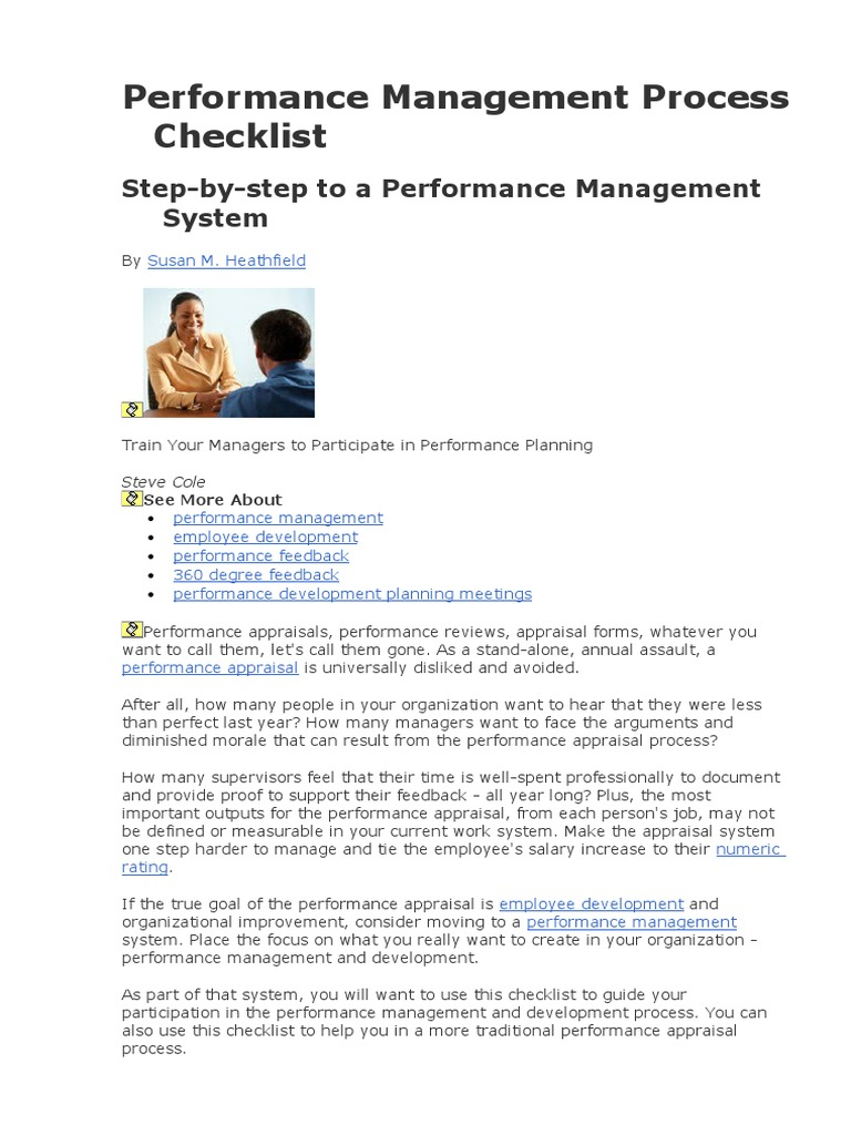 Performance Management Process Checklist | Performance