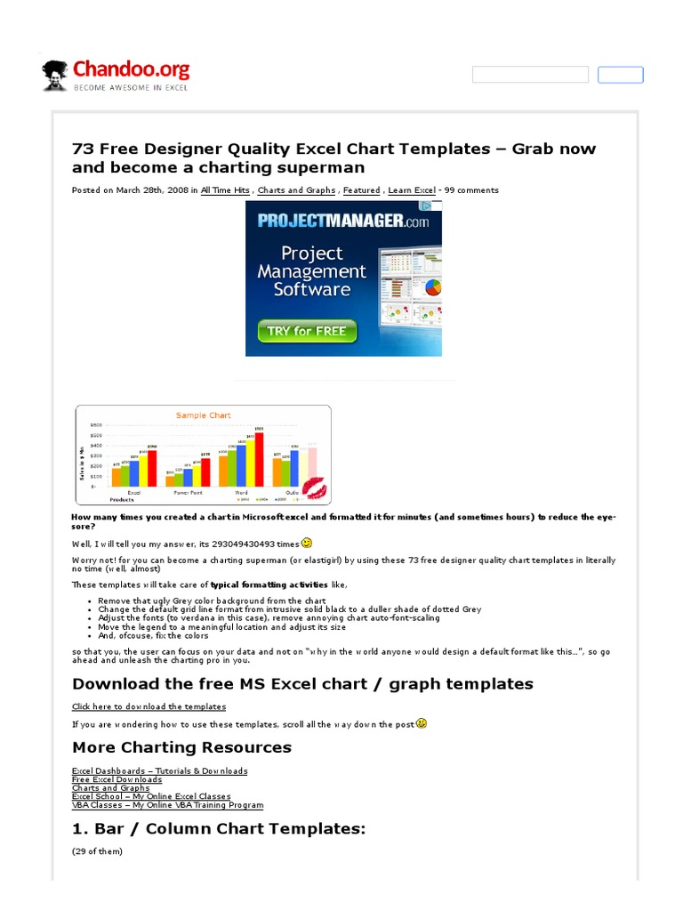 excel charts templates