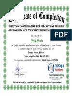 josip benko - nys infection control  barrier precautions certificate 3-21-2014