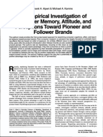An Empirical Investigation of Consumer Memory, Attitude, And Perceptions Toward Pioneer and Follower Brands (Alpert Kamins)